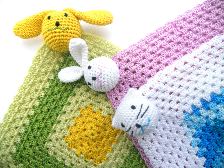 Crochet Comfort Blanket Soft Toy Security Blankie Baby Lovie