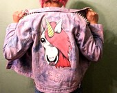 Special Order for Natae// Hand Painted Unicorn Patch// Up-cycled Denim Jacket// Tie Dyed Bleached Denim Jacket// Studded