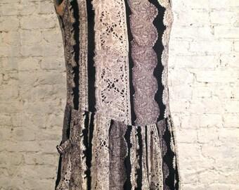 Grunge Dress - 80s/90s Black Tribal Flapper Style Sundress