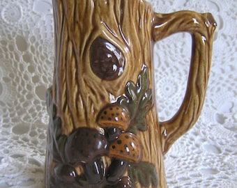 Faux Bois Ceramic Pitcher 1970s, Bohemian Woodland Mushroom, Hippie Pottery
