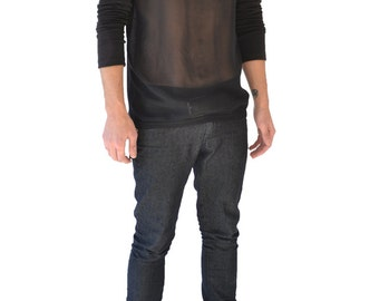 Sheer Front Panel Raglan Sleeve Sweater