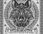 Legend of Zelda - Lupus Hylian Linkus Line Art - signed museum quality giclée fine art print