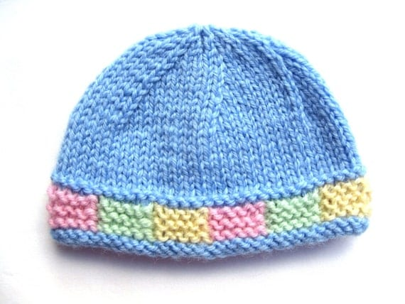Items similar to Instant download PATTERN Knit PREEMIE Hat with Colorful Gart...