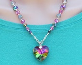 Heart Necklace of SPARKLY Pink and Green Glass Crystals, Princess Fantasy, Chain, Silver, 19-inches