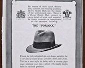 Henry Heath, hat, 1924, vintage, ad, original, Porlock, English, fashion, men, advertisement, FREE WORLDWIDE SHIPPING, paper, ephemera