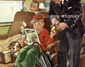 Dog Little Boy - Stowaway Dog - Train Conductor - Antique Art Print Restored - 1930s Frances Tipton Hunter