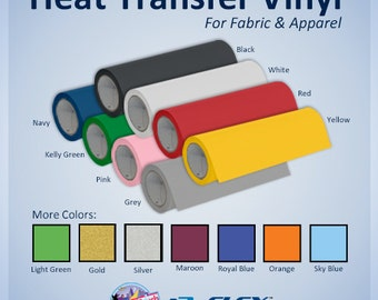 123Flex Heat Transfer Vinyl - HTV Craft Vinyl for Tshirts and Apparel in Multiple Size  and Color Options