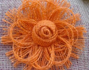 Tangerine - Handmade Burlap flower Cake Topper - Rustic, Cottage Chic, Boho Bride