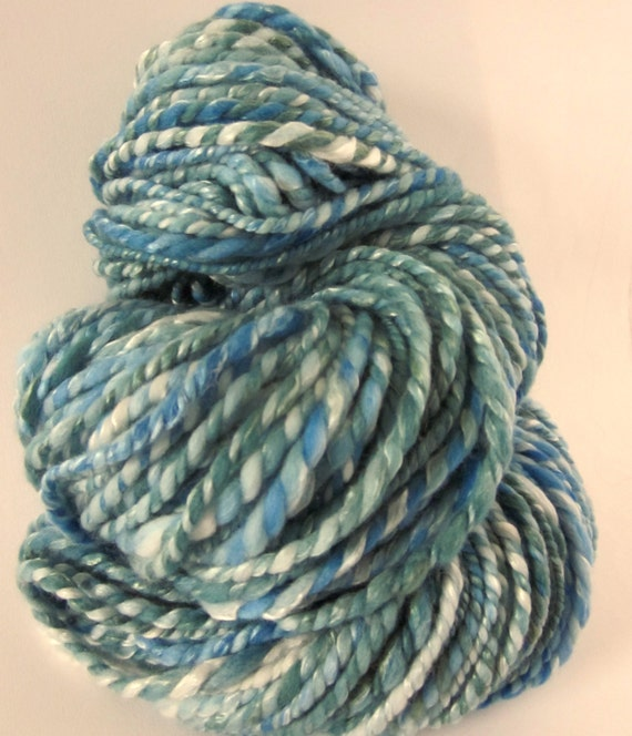 Handspun chunky ultrafine merino and silk knitting yarn / wool  104 yards