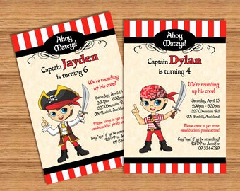 Pirate Boy PERSONALIZED pdf printable pirate party invitation