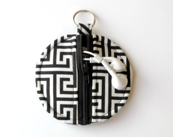 Circle Zip Earbud Pouch / Coin Purse - Black and White Greek Key