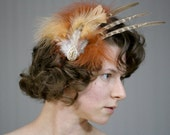 "Burlesque Feather Fascinator, Steampunk Hair Piece Clip, Vintage Gold Hair Accessory, Earth Tone Brown Feather Clip - ""Pistol Packin' Mama"""