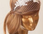 BIRDCAGE VEIL. White veil .Romantic Wedding Headpiece with beautiful,delicate LACE Flowers.Bridal Fascinator