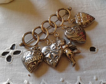 Victorian revival sterling silver 2 sided heart 5 charms angel brooch vintage Christmas New Year wedding anniversary birthday jewelry gift