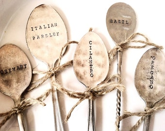 FIVE Custom Vintage Flattened Spoon Garden Markers - Featured in FashionMagazine.com as a top unique gift for Mom