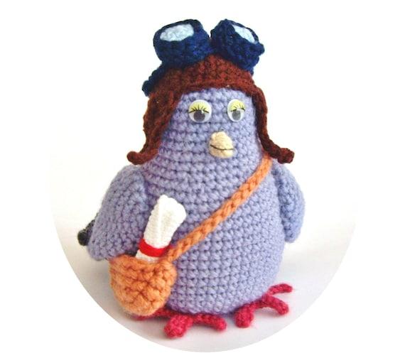 "PDF PATTERN amigurumi little crochet toy ""Messenger pigeon"" step by step tutorial/retro aviator pilot dove/mother's day gift present"