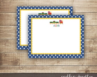 Train Thank You Note / Personal Stationery / Children's Stationery / Train Personalized Note Card -  Printable