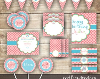 Pink & Turquoise Girl's Birthday Party, Pink Polka Dots Birthday Party Printables, Turquoise, Pink, Lime Green, Girl's Birthday Party Decor