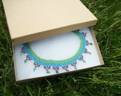 Cool Transition : Green Blue Purple Net Stitch Collar Necklace Opaque Seed Bead with Oily Rainbow Finish