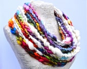 All Things Beautiful Scarf Rainbow Colors Chunky Knit Art Yarn Soft Bamboo Merino Art Yarn