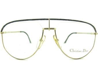 Christian Dior 2582 rare avant garde half rimmed aviator designer eyeglasses frames, NOS 1980s