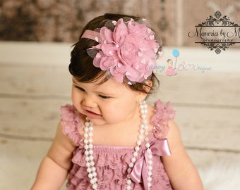 Easter Headband, Large Dusty Rose heart Dots Tutu Headband, newborn headband,Baby girls headband,MTM Dusty Rose Lace Romper,Baby Dusty Rose