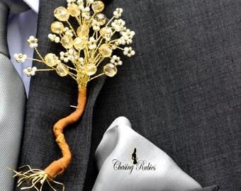 Autumn Wedding Groom Buttonhole Boutonniere Golden Tree
