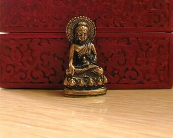 BUDDHA STATUE brass Deity, small Buddha seated portable altar, or, Female Buddha, tiny brass deity, Quan Yin Meditating in seated meditation