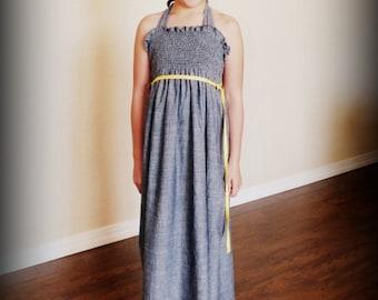 Custom Chambray Smocked Maxi Dress by Steady As She Goes girls 4 5 6 7 8 10 12 indigo blue gray lightweight denim halter sundress chic