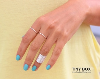 15 Silver Above Knuckle Ring - Knuckle Ring -  Thin Shiny Rings -  15 Stacking Midi Ring