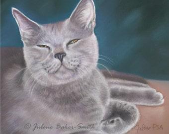 Russian Blue Cat Art, Gray Cat Gift Set, Cat Decor, Russian Blue