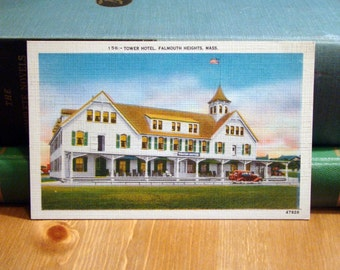 Vintage Postcard, Tower Hotel, Falmouth Heights, Massachusetts, 1940s Linen Paper Ephemera
