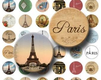 Paris Ephemera - Digital Collage Sheet  - 1 inch Round Circles - INSTANT DOWNLOAD
