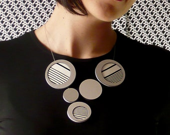 Contemporary Jewelry, Circle Statement Necklace Handmade in silver, black and white stripes, minimal jewelry, Modern necklace, offer to her