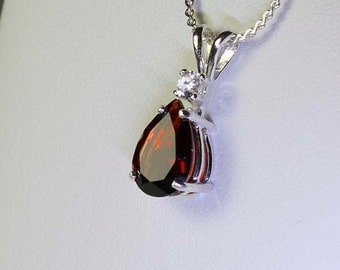 Natural Garnet & Sapphire Sterling Silver Necklace / Pendant January Birthstone FREE CHAIN