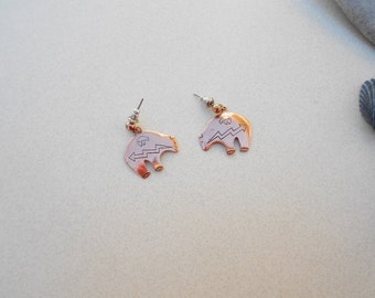 Vintage earrings Bear Fetish copper metal signed WM Co Copper pierced, 1970s  jewelry