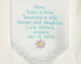 Wedding Gifts for Mother of the Bride Custom Embroidered Handkerchief personalized Hankerchief gifts for parents Mom Napa Embroidery