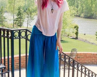 Blue Wide Leg Pants - Lougewear - Linen - Comfortable - Loose - Prenatal Yoga