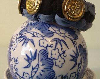 Navy Brass - Button & Cloth Cuff Bracelet, ONE OF A KIND