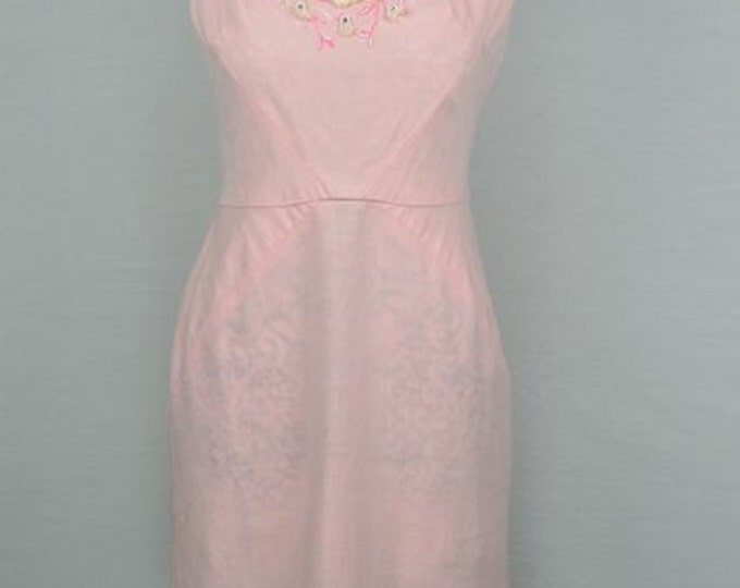 1950s vintage pale pink linen wiggle dress with floral beaded bodice