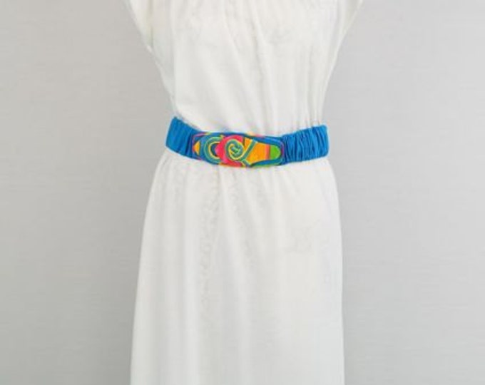 1970s white cotton day dress - Viva - Retro - Disco - Turquoise blue belt - Blue and Pink Accents