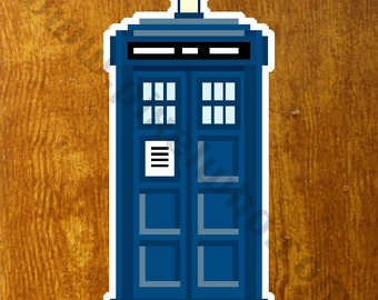 Pixel (8 bit) Doctor Who TARDIS Sticker