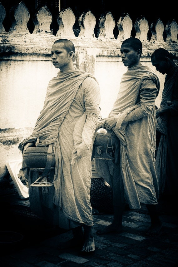 Monks in Laos. Travel Photography. Sepia Print by OneFrameStories.