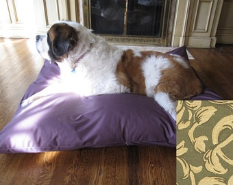 XL Dog Bed Cover, Waterproof Dog Bed, Dog Bed Duvet, Dog Bed, Pet Bed, Durable Dog Bed, Crypton Dog Bed, XL, Giant, 50x57, Green Leaf Scroll