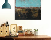 """Original Abstract painting - RAW Black and Blue - Acrylic painting - 31,5"""" (80cm) x 31,5"""" (80cm) - RonaldHunter"""