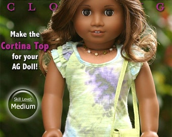 Pixie Faire Liberty Jane Cortina Top Doll Clothes Pattern for 18 inch American Girl Dolls - PDF