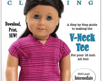 Pixie Faire Liberty Jane V-Neck Tee Doll Clothes Pattern for 18 inch American Girl Dolls - PDF