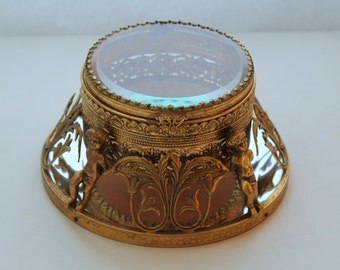 Rare Gold Ormolu Filigree Beveled Glass Cherubs Trinket Jewelry Box Mirror Base
