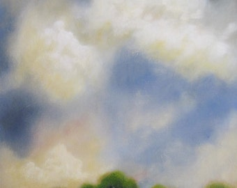 Original acrylic painting, distant trees, large sky, clouds, greens and blues 18x24x1.5""