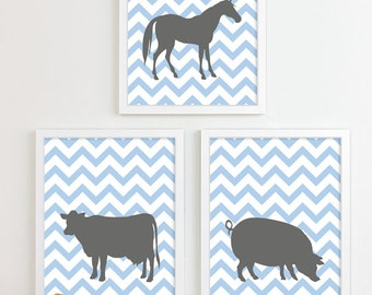 Farm Animal Nursery Art - Equestrian Barn Animals Cow Pig Horse Nursery Wall Art, Cowboy Room Decor, Chevron Nursery, Blue Boy Nursery Decor